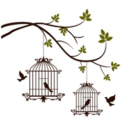 Beauty tree silhouette with birds flying and bird vector