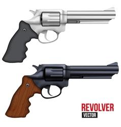 Big Revolver Silver bright metal vector image vector image