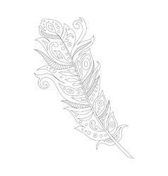 Black bohemian boho bird feather vector