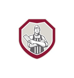 Butcher with meat cleaver shield retro vector