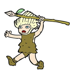 Comic cartoon caveman vector