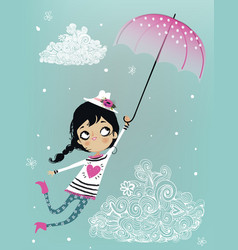 Cute flying girl with umbrella vector