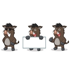 Dark Brown Wild Pig Mascot happy vector image