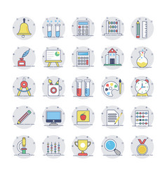 education flat line icons 1 vector image vector image