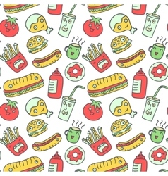 Fast food seamless background vector image