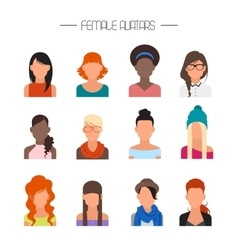 Female avatar icons set People characters vector image