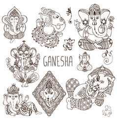 ganesh in the mehendi style vector image vector image