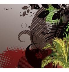 grunge summer floral background vector image vector image