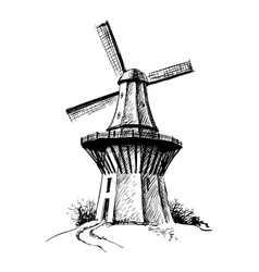 hand drawn sketch mill vector image