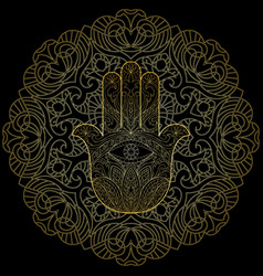 Hand of fatima with mandala vector