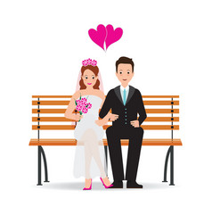 Happy cute groom and bride cartoon sitting on vector