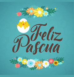 Happy easter spanish calligraphy greeting card vector