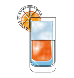 Isolated orange juice glass vector