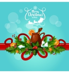Merry christmas best wishes mulled wine greeting vector
