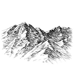 Mountains sketch mountains ranges hand drawing vector