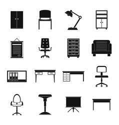 Office furniture icons set simple style vector