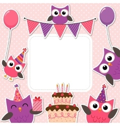 Party owls pink card vector