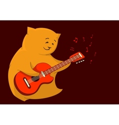 Red cat guitarist vector image