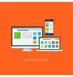 Responsive design flat web infographic technology vector image vector image
