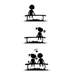 Silhouettes of boy and girl sitting on a bench vector image vector image