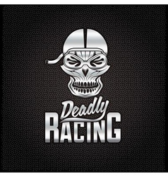 Silver skull racer with flame glasses vintage vector