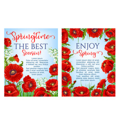 Spring time flowers on greeting posters vector