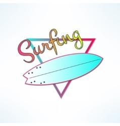 Surfboard label logo or surfing shop banner vector