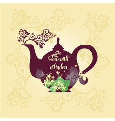 Teapot with linden vector
