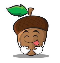 Tongue out acorn cartoon character style vector