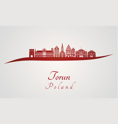 Torun skyline in red vector