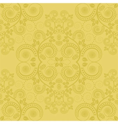 yellow background with floral decoration vector image vector image
