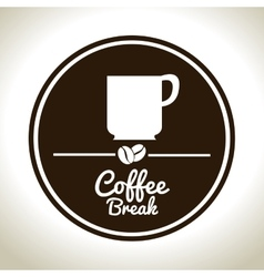 Coffee break cup white graphic vector