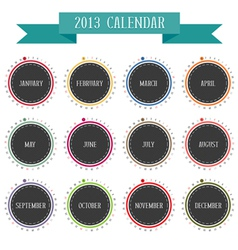 Round vintage calendar 2013 vector image