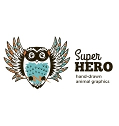 Owl in superhero costume character isolated on vector