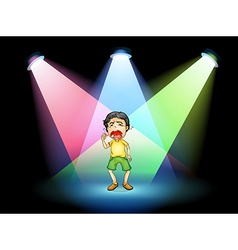 A boy crying at the stage vector image