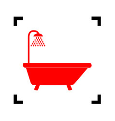 Bathtub sign  red icon inside black focus vector