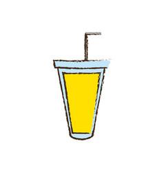cup plastic juice fresh straw vector image