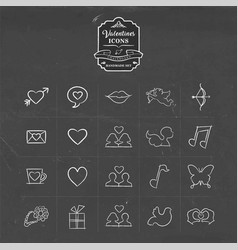 valentines and love hand drawn sketch icon set vector image