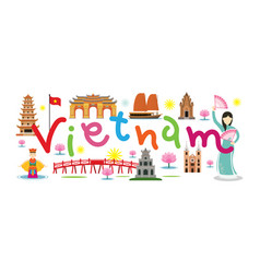 Vietnam travel and attraction vector