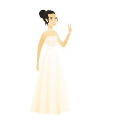Asian fiancee showing the victory gesture vector