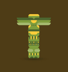 Native traditional totem pole vector