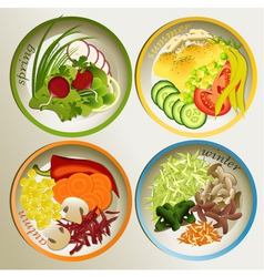 Four seasons plate vector
