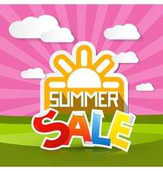 Summer sale background with sun meadow hills sky vector