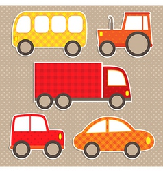 Set of cute colorful transport stickers vector