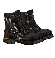 Old black boots with buckles and laces vector
