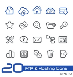 Hosting Icons Outline Series vector image