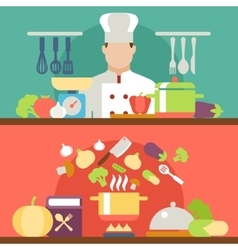 Cooking concept flat icons set vector