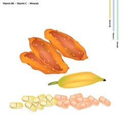 Delicious dried bananas with vitamin b6 and vitami vector