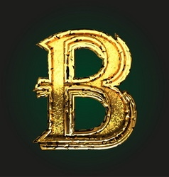 b golden letter vector image