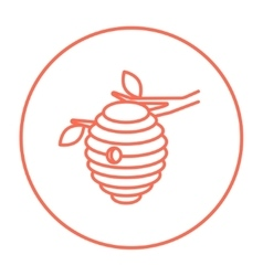 Bee hive line icon vector